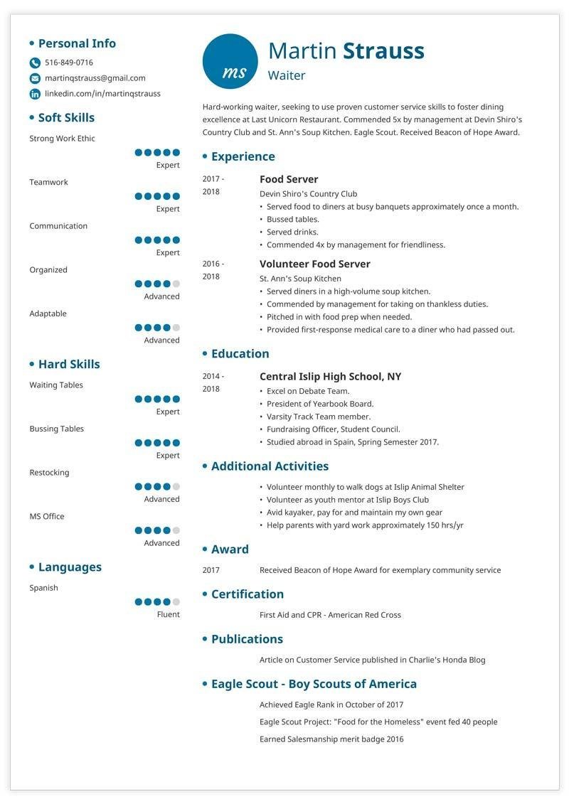 resume examples for teens templates builder guide tips scout template teen bartender Resume Eagle Scout Resume Template