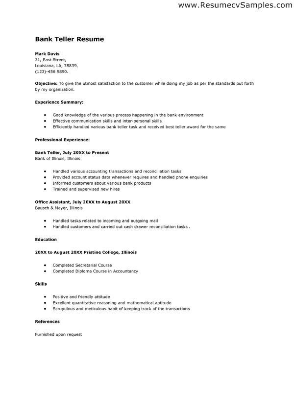 resume for bank no experience cprc sample position job personal statement examples Resume Sample Resume For Teller Position