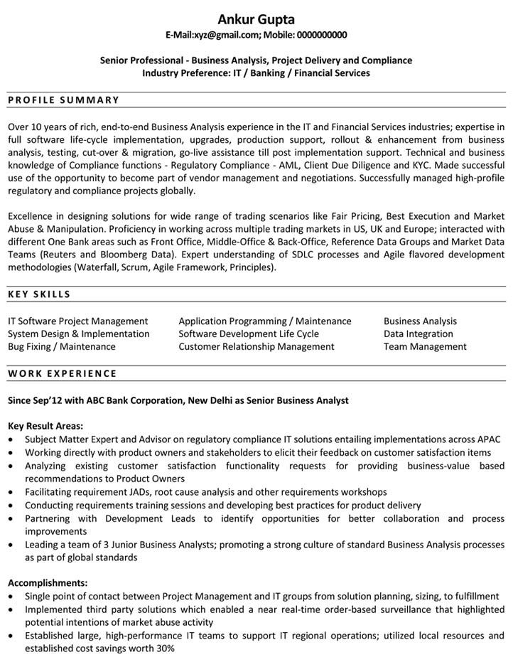 resume format business analyst template sample scrum hobbies good for warehouse music Resume Scrum Business Analyst Resume