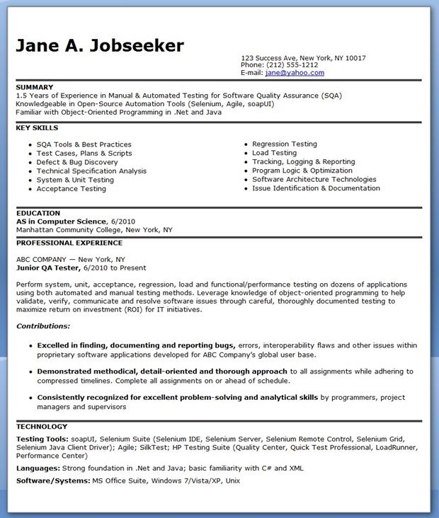 resume format for months experienced software engineer job examples test entry level Resume Software Test Engineer Resume