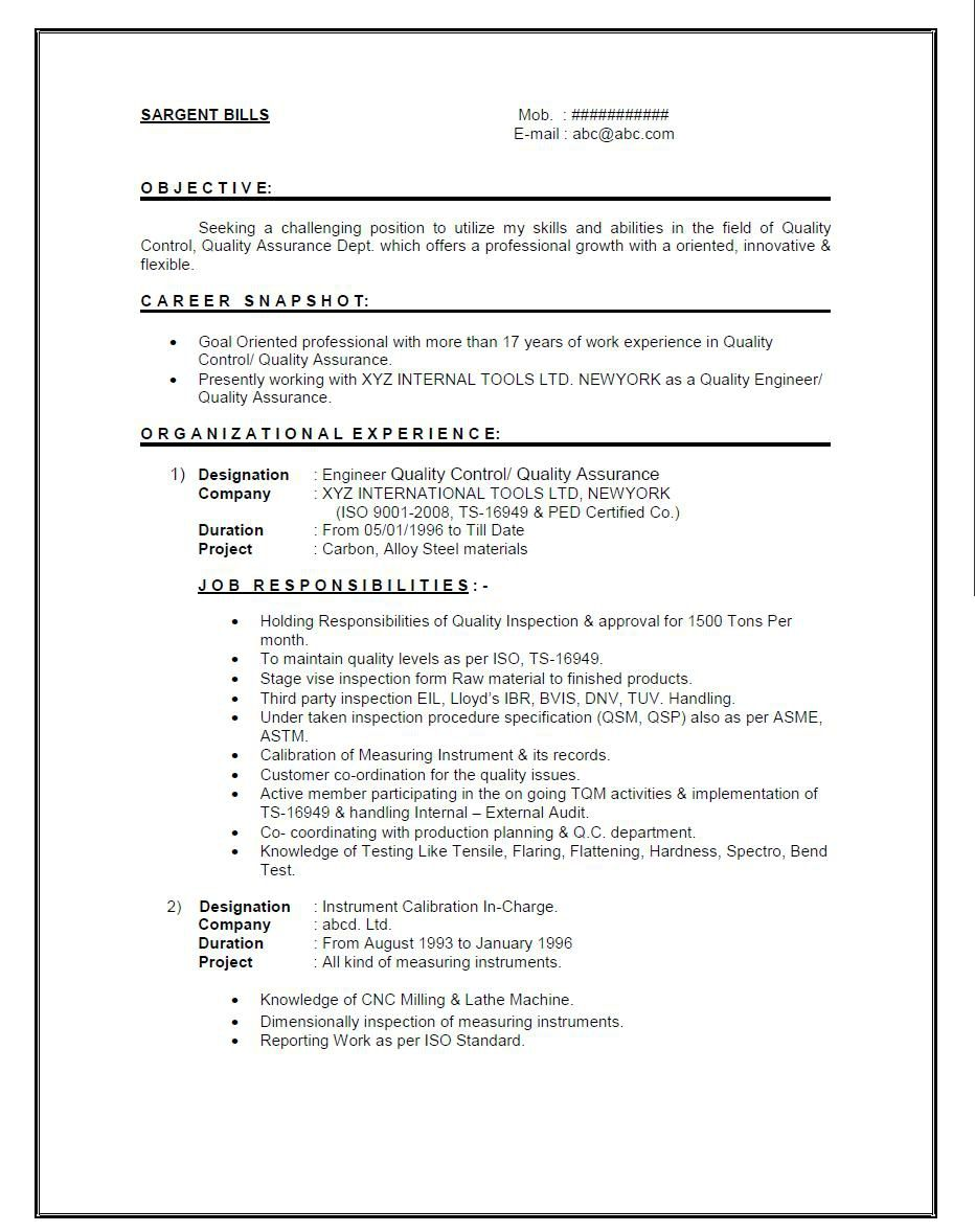 resume format for year experienced mechanical engineer it sample cover letter skills Resume Standard Resume Format For Experienced Engineers