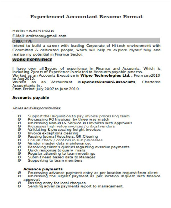 resume format for years experience in accounting word accountant payroll admin career Resume Experience Resume Format For Accountant
