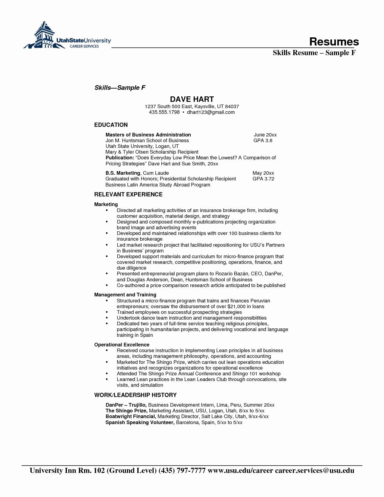 resume format for years experience in operations skills section business hostess Resume Business Skills For Resume