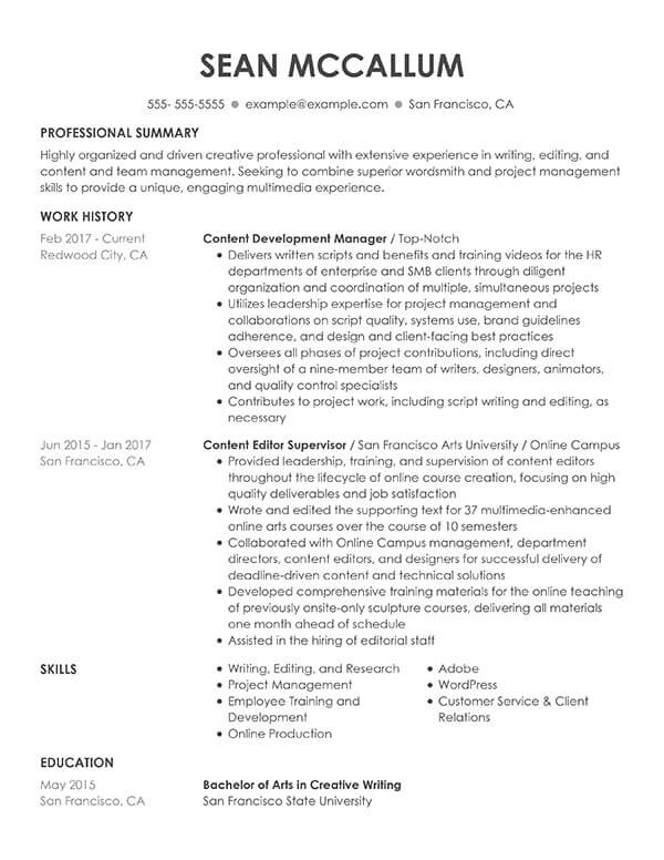 resume formats guide my perfect with only one job history content development manager Resume Resume With Only One Job History