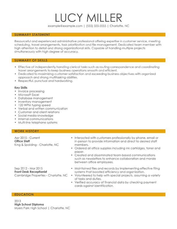 resume formats minute guide livecareer examples skills combination office staff mail Resume Resume Examples 2020 Skills