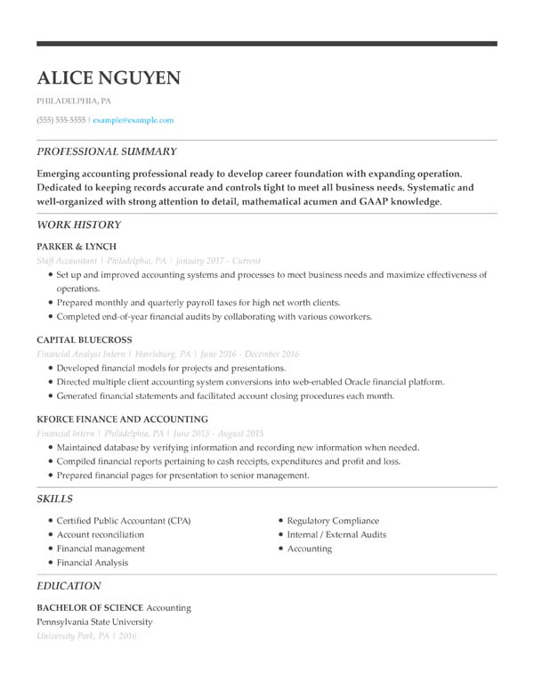 resume formats minute guide livecareer second job examples chronological staff accountant Resume Second Job Resume Examples