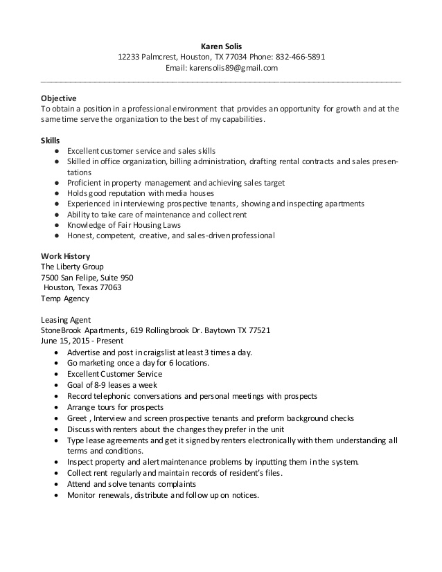 resume leasing agent karen apartment uva template official example value proposition Resume Apartment Leasing Agent Resume