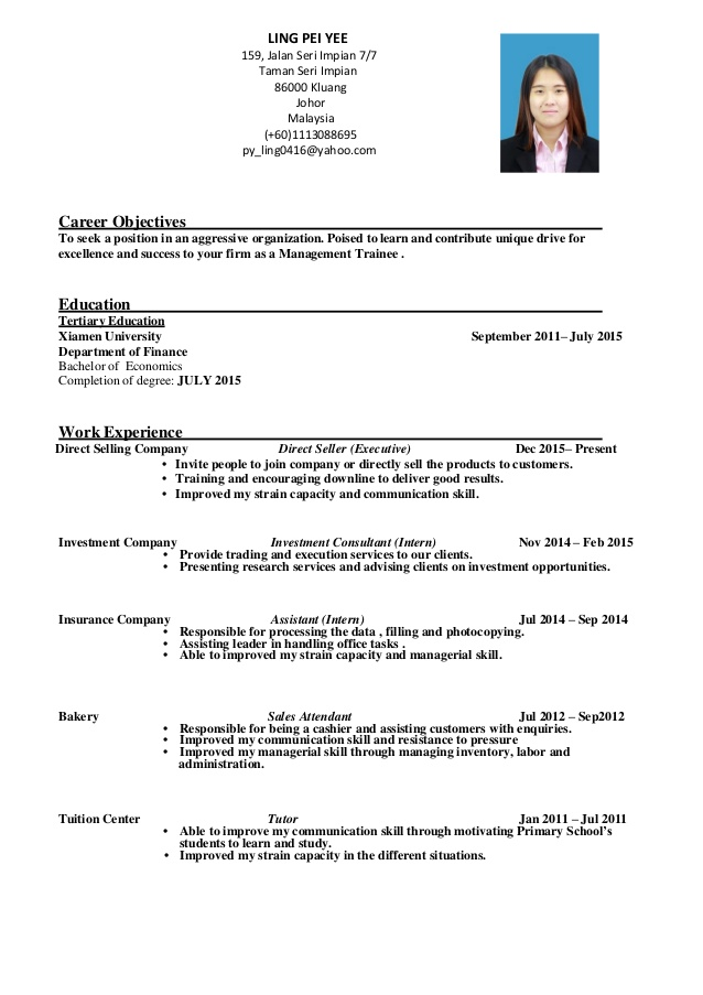 resume management trainee ling pei yee for freshers monster name suggestions highlights Resume Management Trainee Resume For Freshers