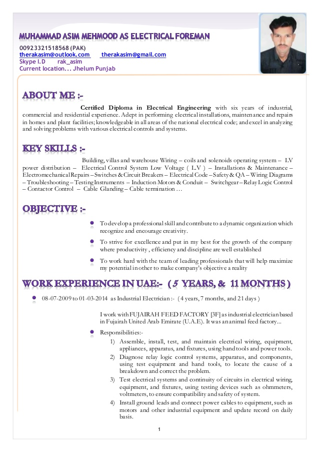resume muhammad asim mehmood as electrical foreman electrician technician objective cio Resume Electrician Foreman Resume