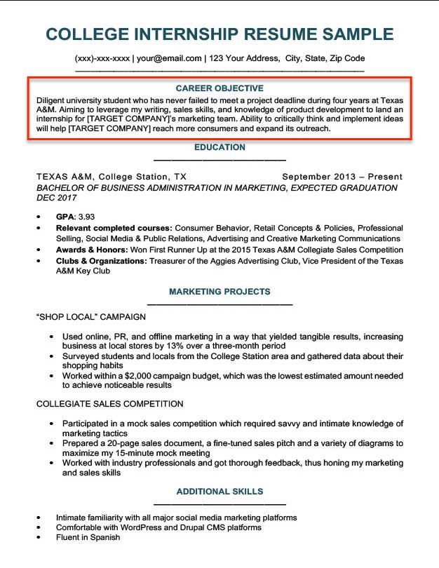 resume objective examples for students and professionals internship sample college Resume Internship Resume Objective Sample