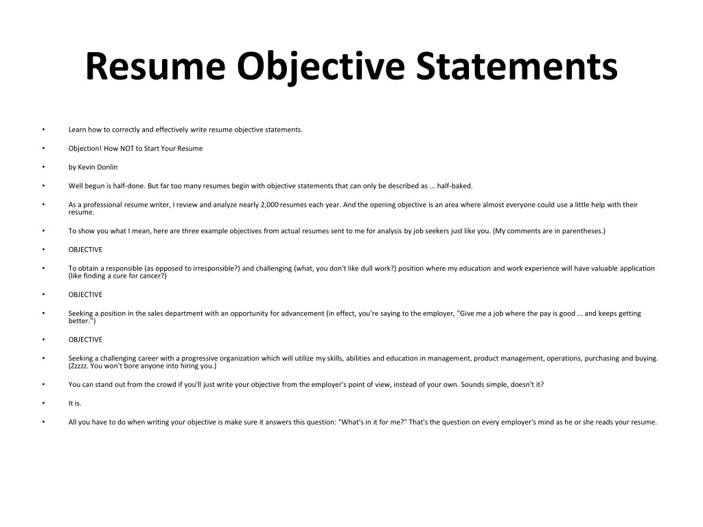 resume objective samples powerpoint presentation free id sample for any position Resume Sample Objective For Resume For Any Position