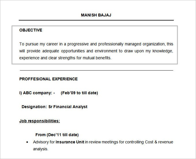 resume objectives pdf free premium templates career objective for mba college financial Resume Career Objective For Resume For Mba College