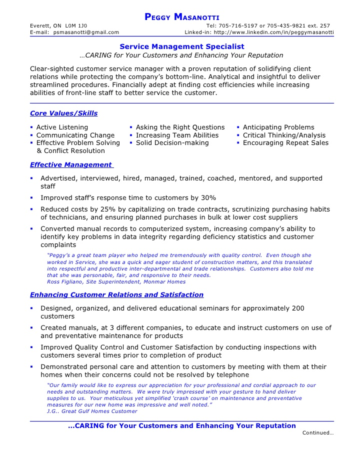 resume of peggy masanotti service management specialist conflict resolution military Resume Resume Conflict Resolution