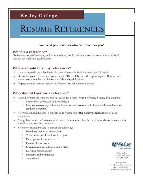 resume references wesley college should you include on your injection molding technician Resume Should You Include References On Your Resume