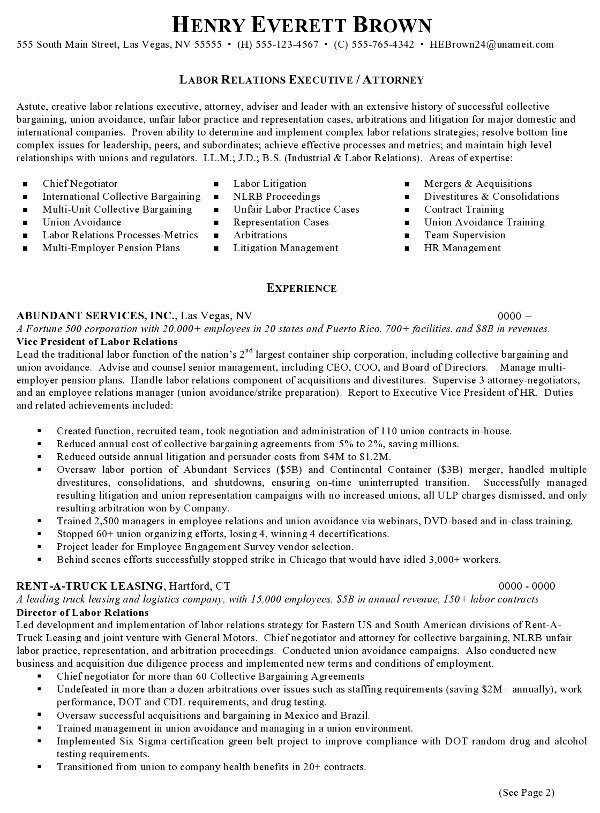resume sample attorney labor relations executive career resumes best pg1 counselor skills Resume Best Attorney Resume Sample