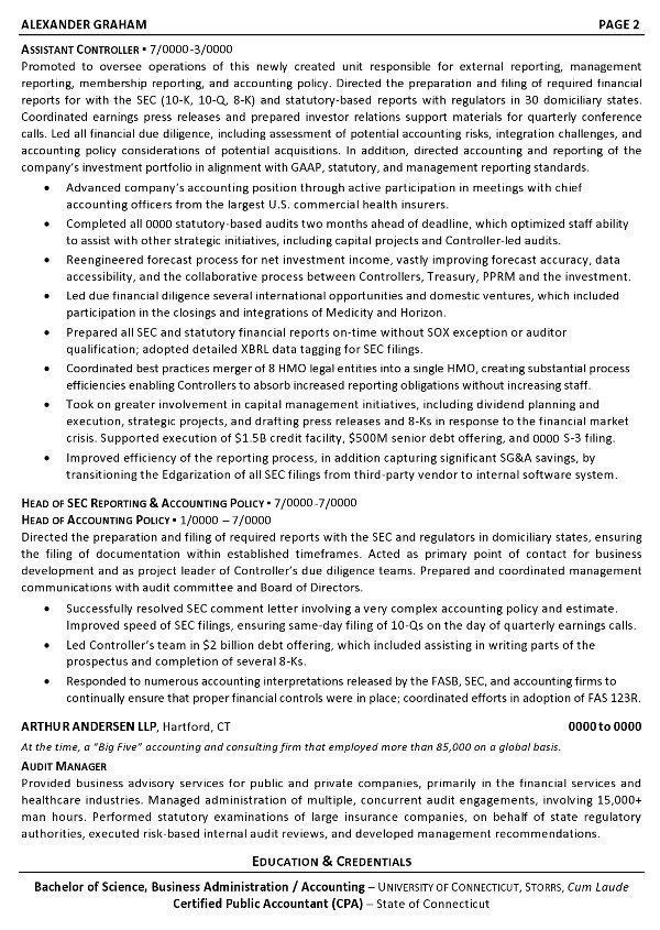 resume sample controller chief accounting officer business unit cfo career resumes pg2 Resume Chief Accounting Officer Resume