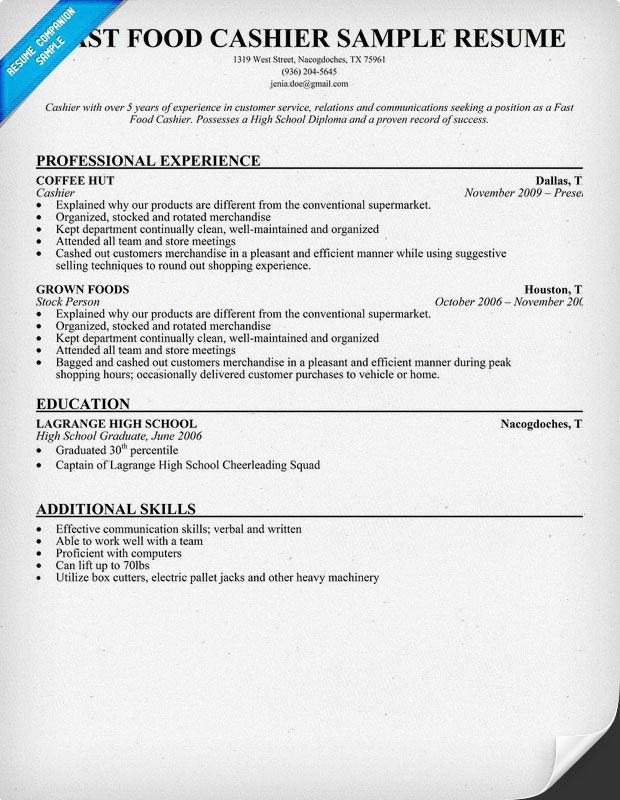resume samples and to write companion job examples cover letter for high school cashier Resume High School Cashier Resume