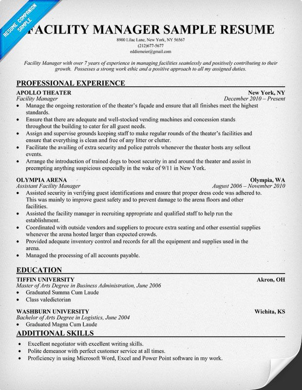 resume samples and to write companion maintenance jobs objective examples facility Resume Facility Manager Job Description Resume