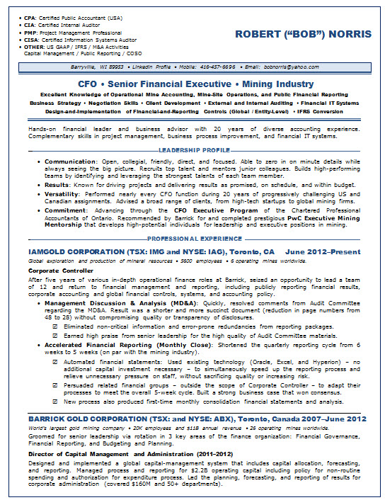 resume samples chief financial officer cfo mining accounting resumesample cfoliz page1 Resume Chief Accounting Officer Resume
