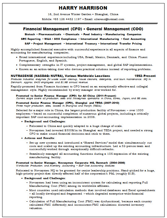 resume samples chief financial officer cfo pharma accounting resumesample cfosilv page1 Resume Chief Accounting Officer Resume