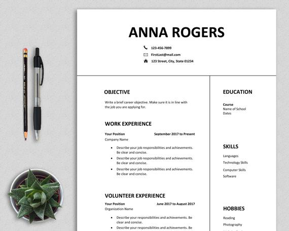 resume template word first job cv one etsy layout il 570xn frus mechanic sample school Resume First Job Resume Layout