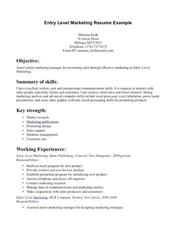 resume templates beginner marketing examples objective summary free word with photo walt Resume Beginner Resume Summary Examples