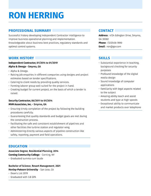 resume templates edit in minutes simple two column template strong blue enterprise Resume Simple Two Column Resume Template