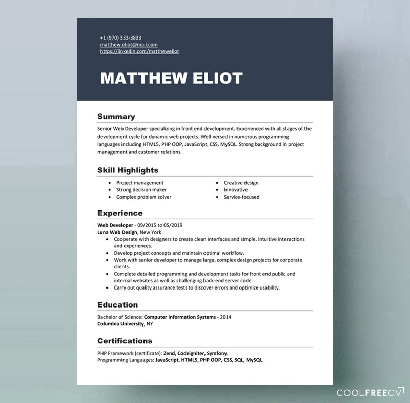 resume templates examples free word current template it format for cts company summary of Resume Current Resume Templates 2020