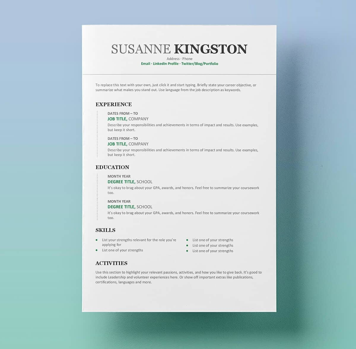 resume templates for microsoft word free standard template email sending financial Resume Standard Resume Template Word