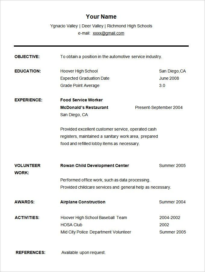 resume templates for students student high school template free informatica fresher Resume Student Resume Free Template