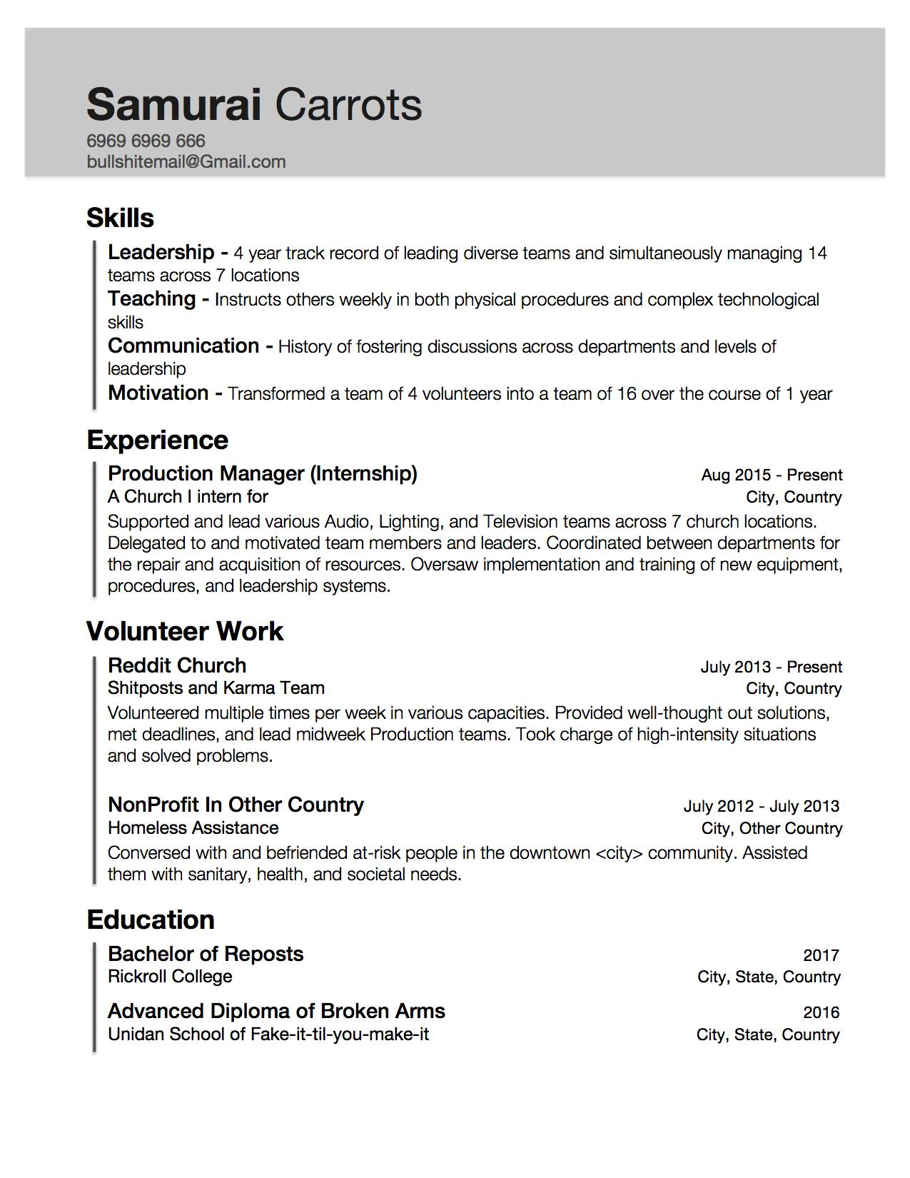 resume with little work experience but skills acquired through internship and Resume Putting Volunteer Work On Resume