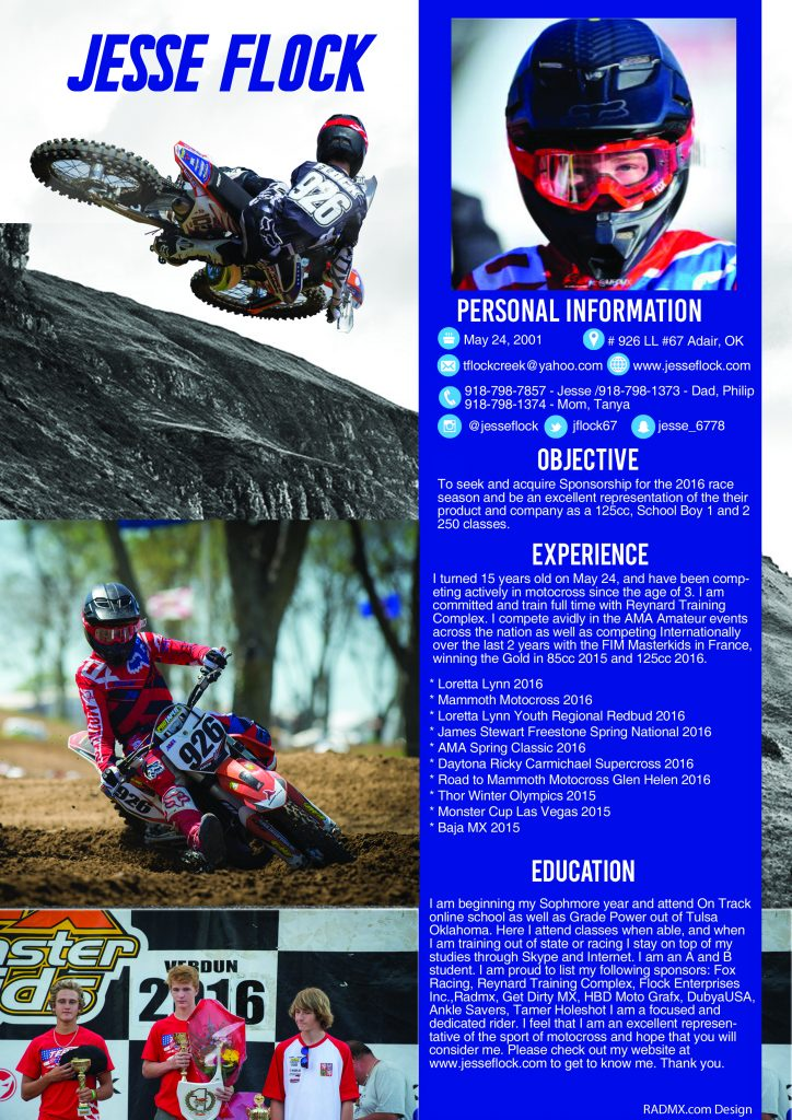 resumes motocross resume example jesse flock wkz builder charge unarmed security guard Resume Motocross Resume Example