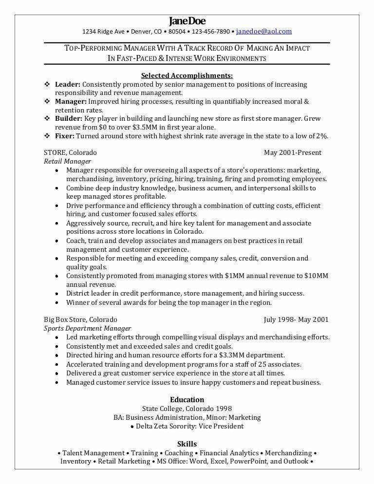 retail management resume examples and samples lovely manager sample good training Resume Retail Training Manager Resume