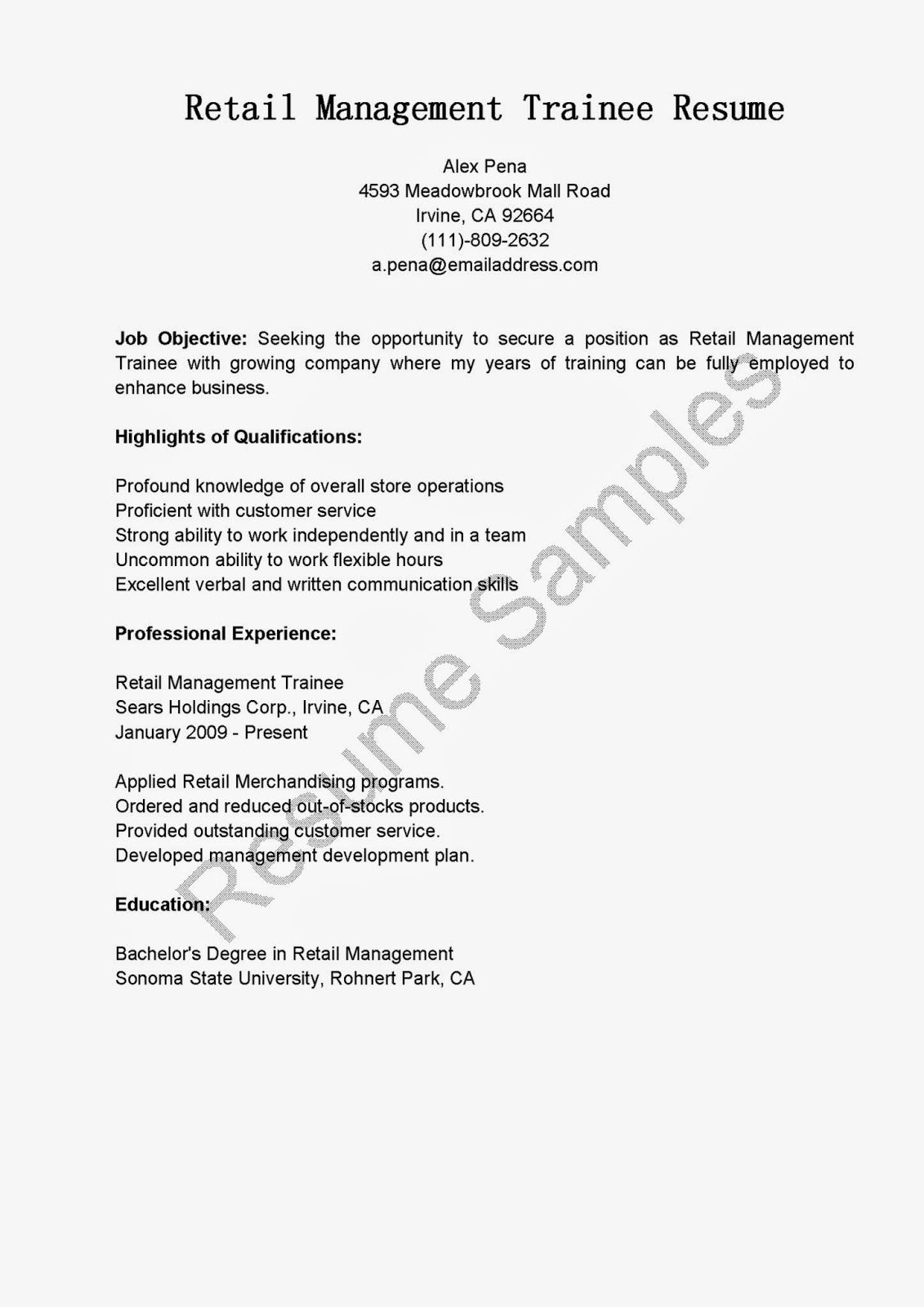 retail management trainee resume sample for freshers objective laborer project manager Resume Management Trainee Resume For Freshers