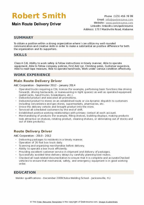 route delivery driver resume samples qwikresume sample pdf selenium for years experience Resume Route Delivery Driver Resume Sample