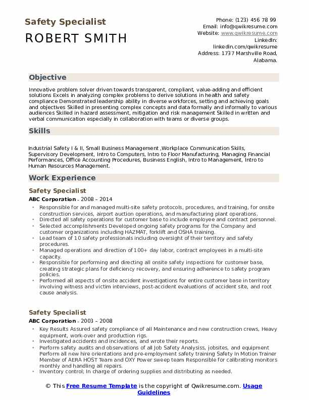 safety specialist resume samples qwikresume food objective pdf building classes Resume Food Safety Resume Objective