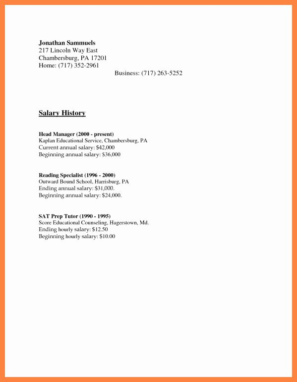 salary requirement sample letter new history examples in cover for resume requirements Resume Sample Resume With Salary History