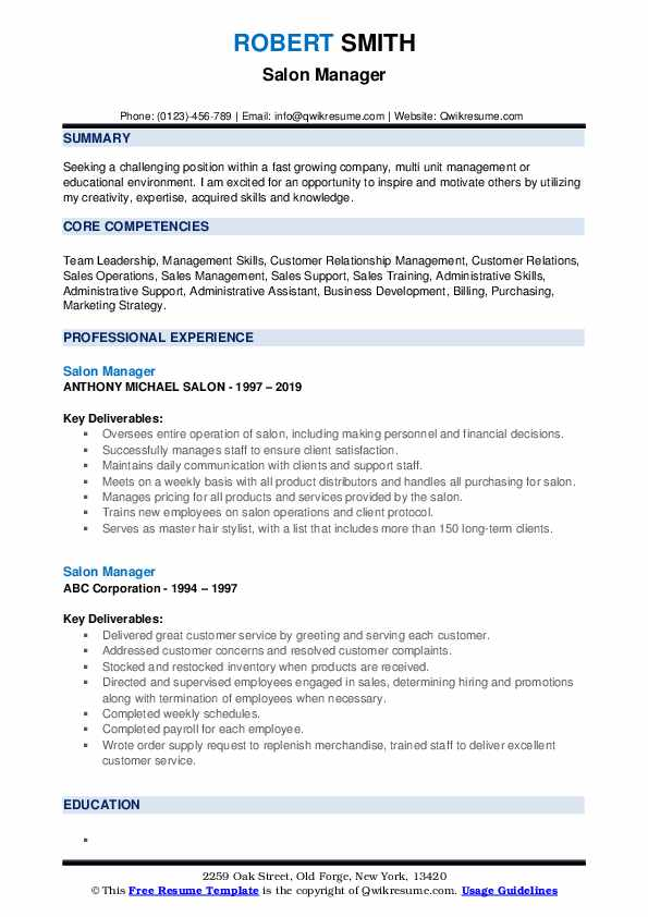 salon manager resume samples qwikresume wording for hiring and firing pdf massage cover Resume Resume Wording For Hiring And Firing