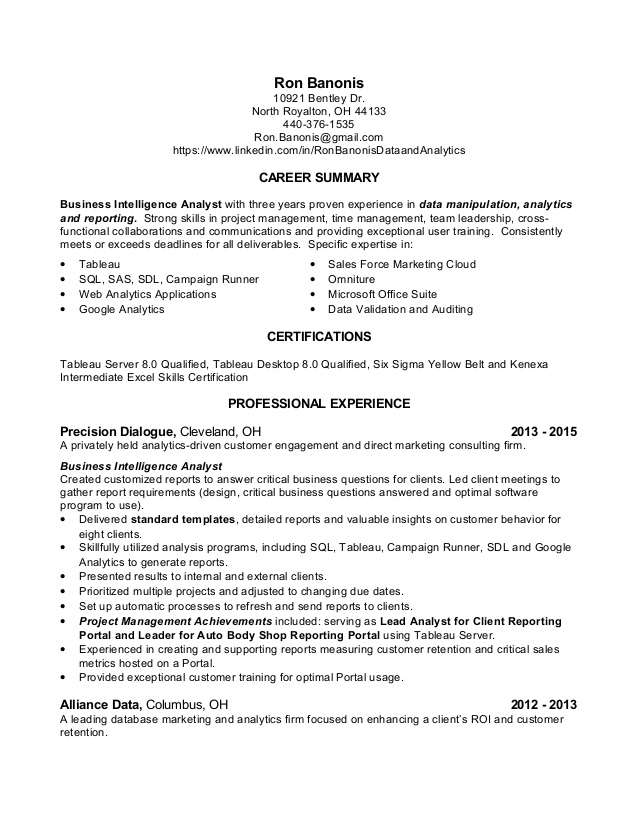 sample resume business data analyst you learn from this guide duties ron banonis update Resume Data Analyst Duties Resume