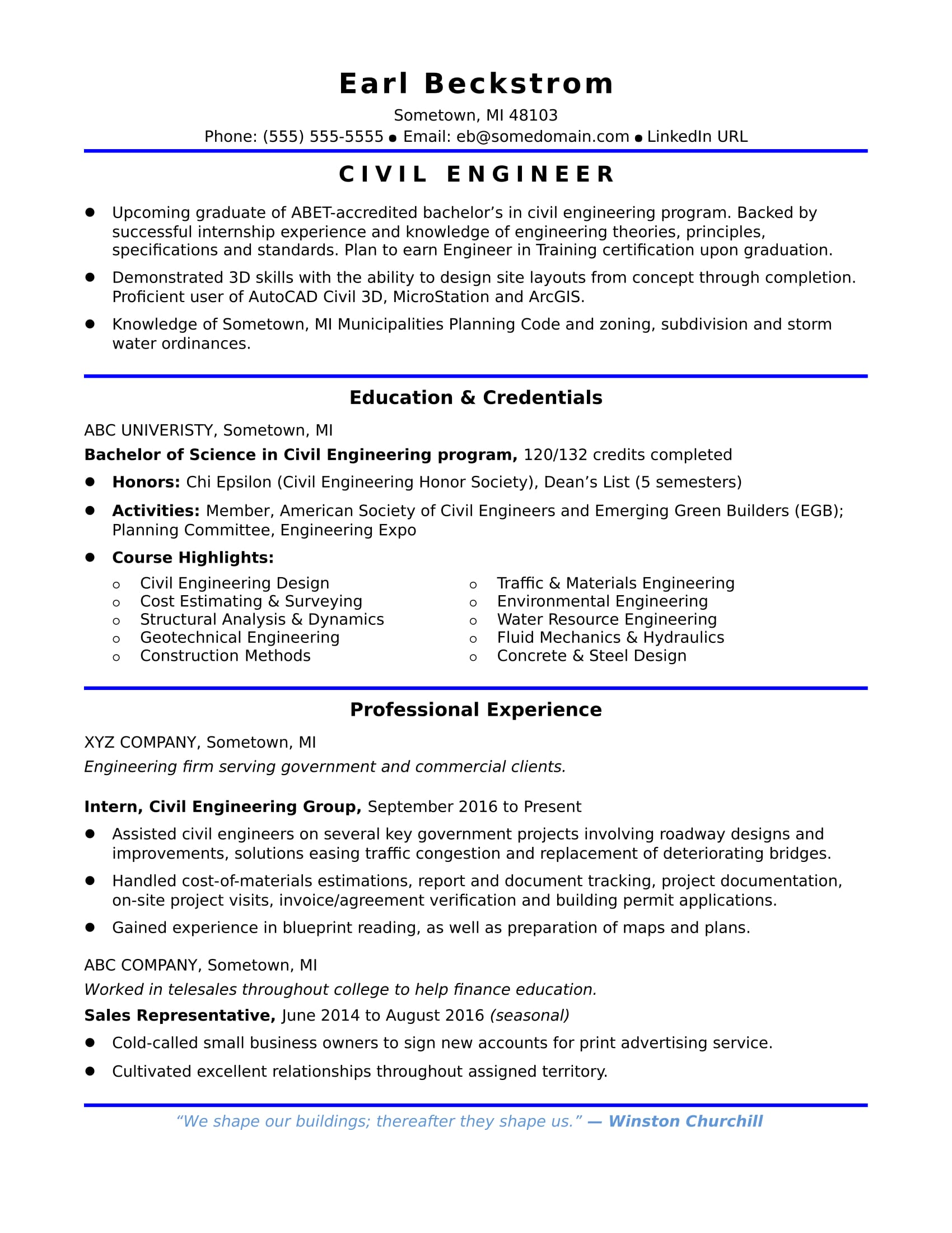 sample resume for an entry level civil engineer monster objective engineering Resume Objective For Resume Civil Engineering