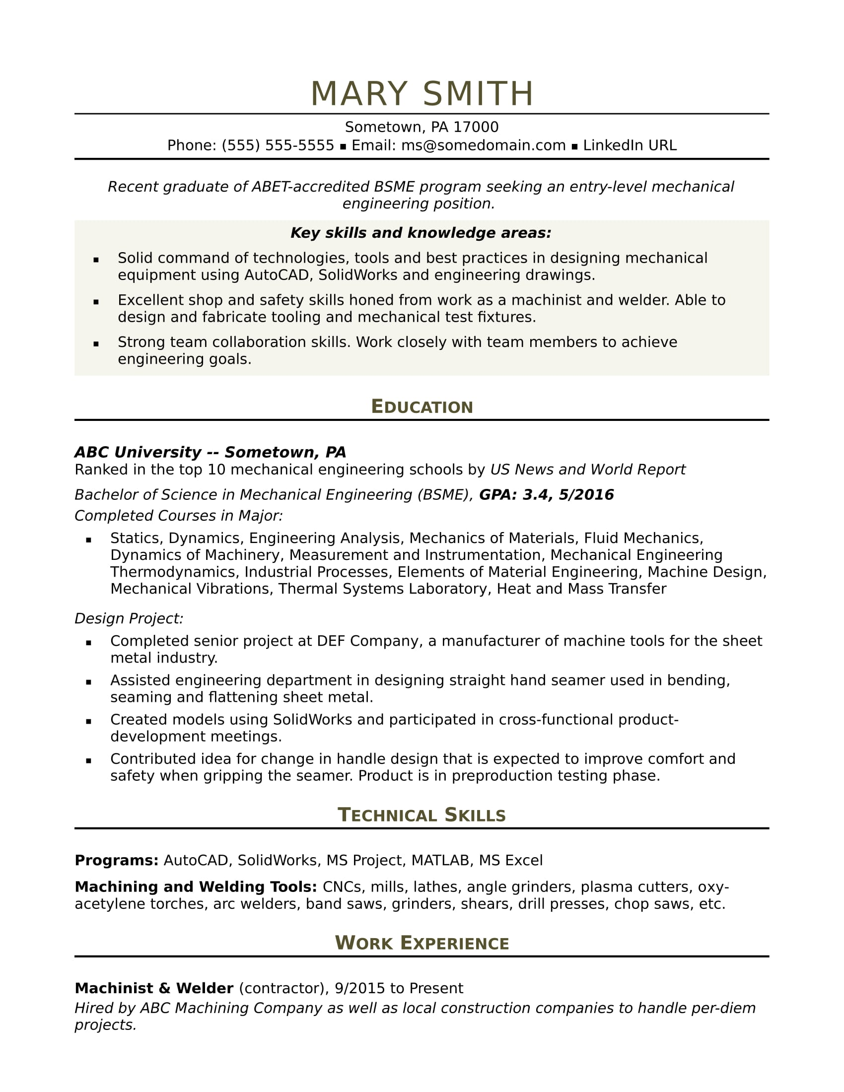 sample resume for an entry level mechanical engineer monster engineering format dietitian Resume Engineering Resume Format