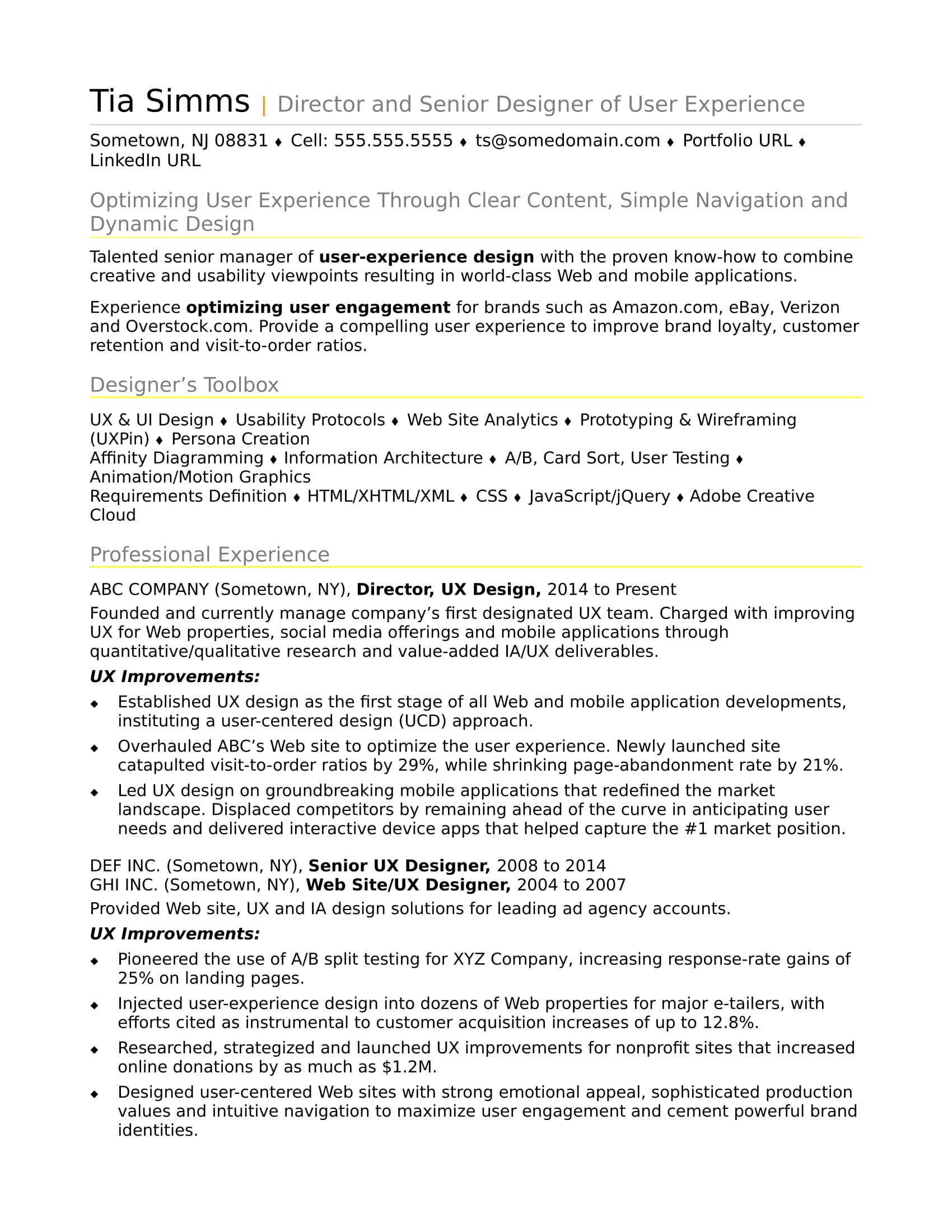 sample resume for an experienced ux designer monster of technical skills examples Resume Resume Of An Experienced Person