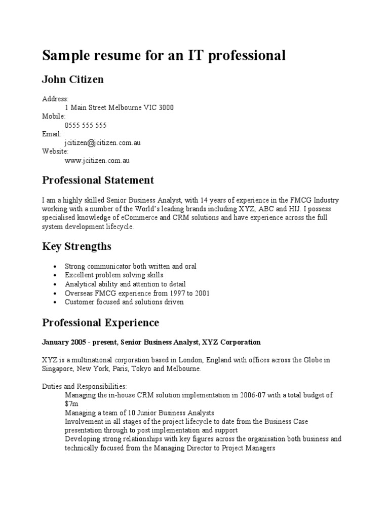 sample resume for an it professional data center itil certified examples new graduate Resume Itil Certified Resume Examples