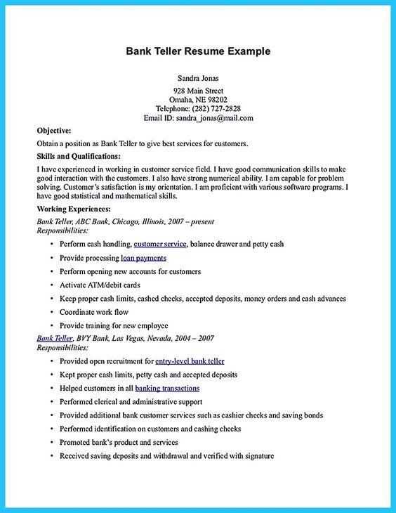 sample resume for bank job with no experience objective cctv technician word fedex Resume Teller Resume Objective