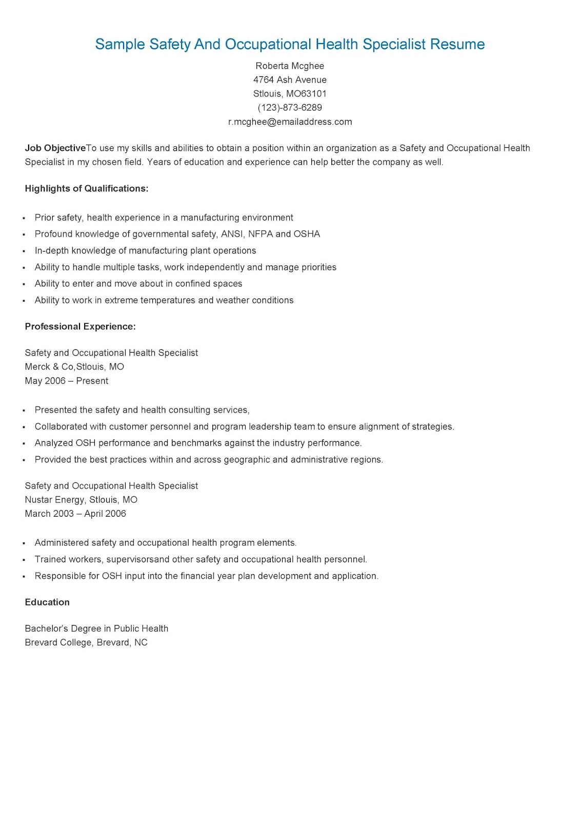 sample safety and occupational health specialist resume objective examples food data Resume Food Safety Resume Objective