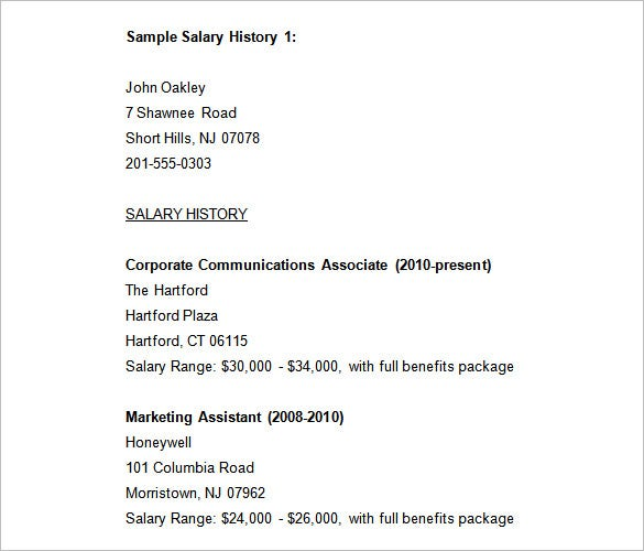 sample salary history templates free word pdf documents premium resume with histories for Resume Sample Resume With Salary History