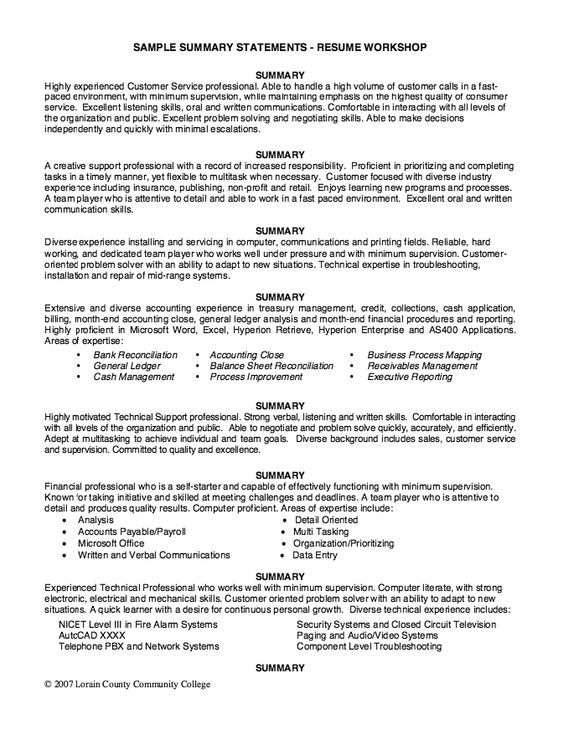 sample summary statements resume workshop free statement examples self for como hago un Resume Self Summary For Resume Sample
