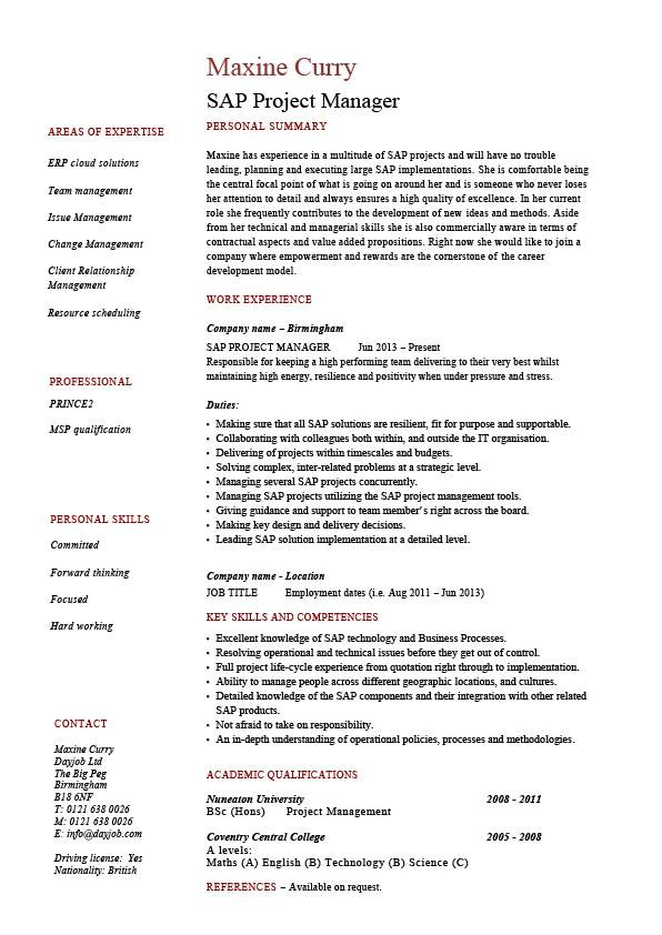 sap project manager resume sample job description career history cv with details pic Resume Sample Resume With Project Details