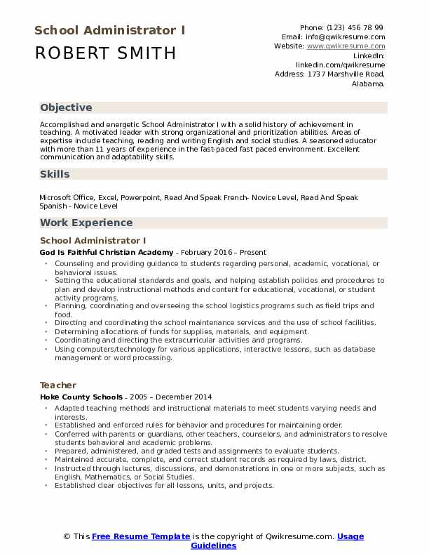 school administrator resume samples qwikresume experience pdf ceo sample staff accountant Resume Resume School Experience