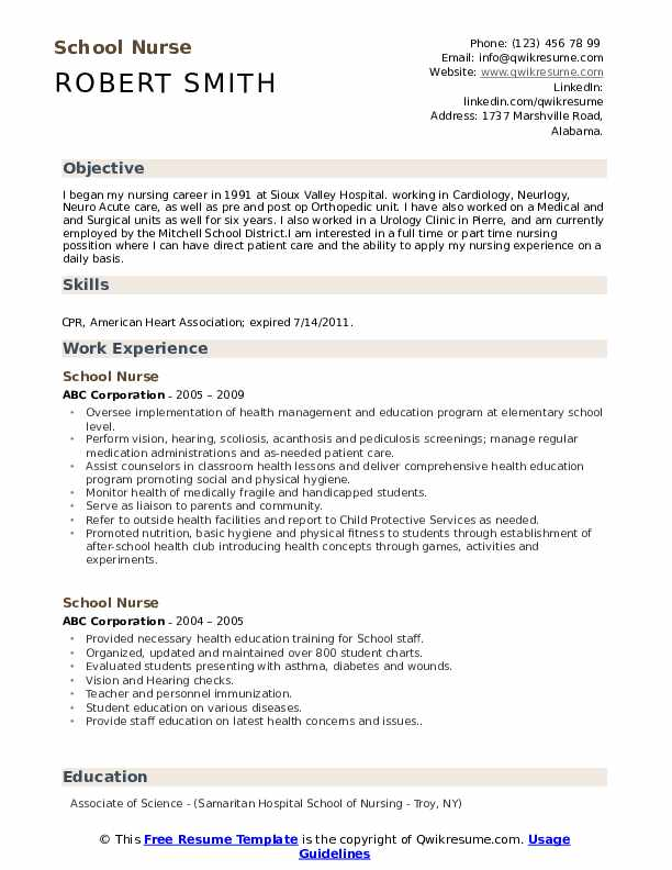school nurse resume samples qwikresume career objective examples for pdf free healthcare Resume Career Objective Examples For Resume Nurse